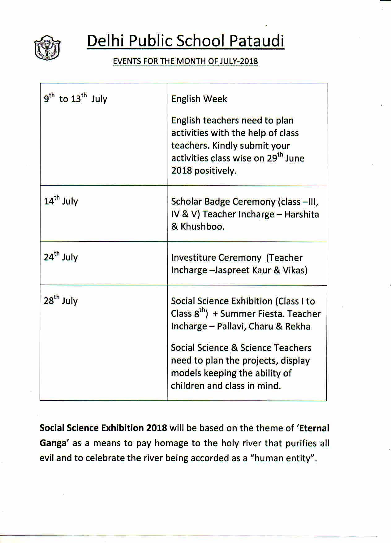 Dps Calendar.Dps Pataudi